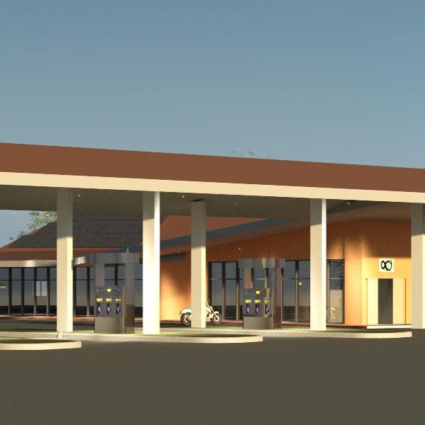 Autobahnraststätte mit Tankstelle und Gastronomie